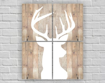 White Deer Head Silhouette, Deer Head Wooden boards, Deer Head Set of 4, 8х10, Deer Head Printable, Deer Head wall art, INSTANT DOWNLOAD