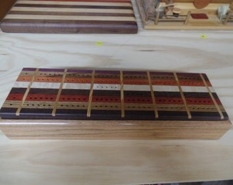 handmade gorgeous cribbage board -1 of a kind- handcrafted from refurbished woods!