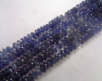 9mm AAA Faceted Iolite or Water Sapphire Bead Strand