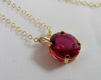 Gold Ruby Necklace, Ruby Pendant, 10x8mm Ruby Gemstone, Lab Grown Ruby, July Birthstone, 14K Gold Filled Bride Necklace, Wedding Jewelry