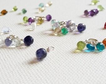 Charms, gem, gemstones, citrine, aquamarine, peridot, amethyst, illite, silver and gemstone charms.