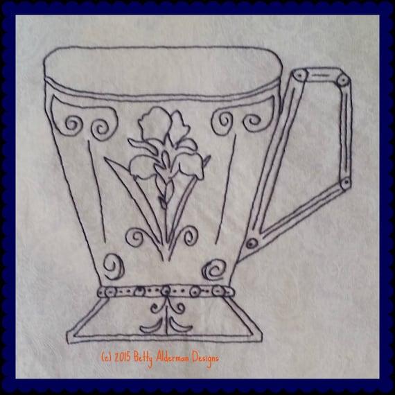 Redwork bluework hand embroidery pattern teacup coffee mug iris