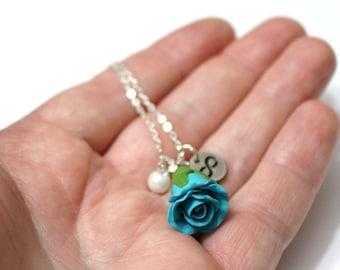 Rosebud Infinity Necklace Turquoise rose Necklace, Flower Jewelry, Infinity Necklace, Charm, Bridesmaid Necklace, Turquoise Jewelry