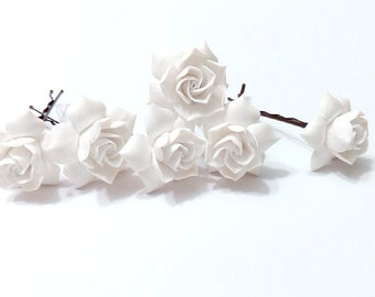 White gardenia hair flower Set of 6, white Gardenia Hair Clip, gardenia Hair pin, white Bridal Hair Flowers, gardenia, Wedding Hair Set of 6