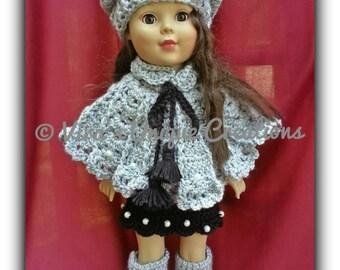 "Crochet American Girl doll poncho, skirt, hat, and boots set, crochet doll poncho, doll clothing, 18"" doll crochet clothing, made-to-order"