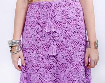 Vintage Crochet Bohemian Skirt in Lavender