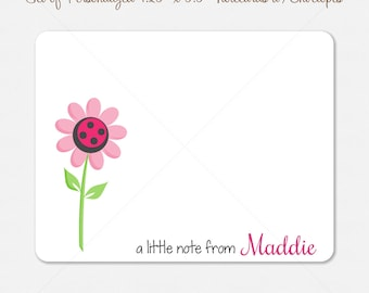 """Flower Note Cards - 10 Personalized 4.2"""" x 5.5"""" Note Cards - Pink Flower Cards - flower notecards - kids notecards"""