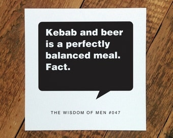 18th Birthday Card For Men; 'Kebab And Beer...' (GC102)