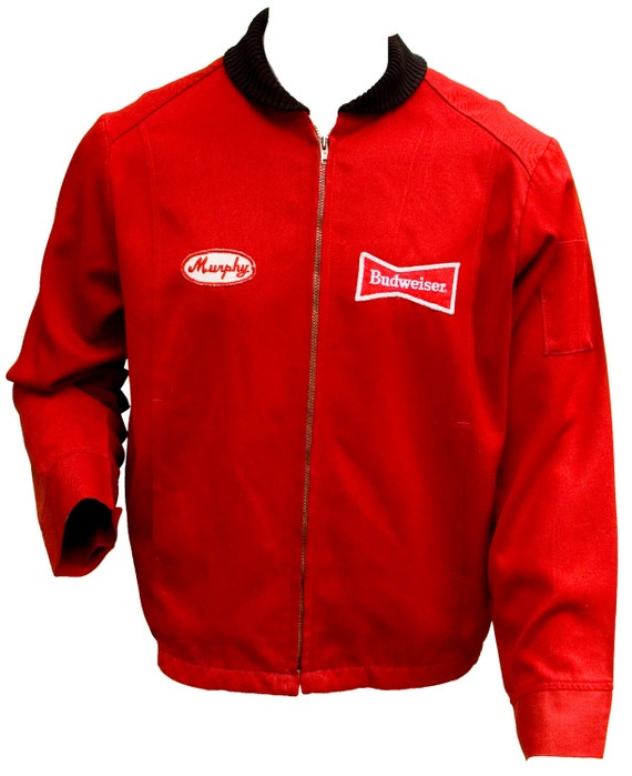 1950s Large Jacket Red Uniform Budweiser Beer Brewery Mens