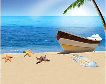 200CM*150CM Backgrounds Summer Vacation by the Sea Vessels Photography Background Beach Backdrop Photography Studio LK 1397