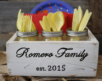 Napkin Holder Paper Plate Silverware Utensil Caddy Gift Under 50 Dollars Gifts For Mom Family Name