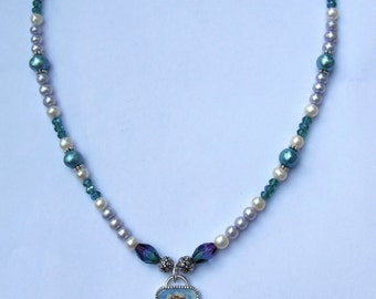 Victorian Mermaid Necklace with Fresh Water Pearls and Crystals
