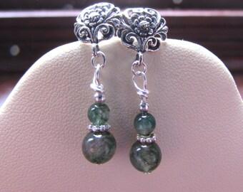 Sterling Silver Moss Agate Earrings