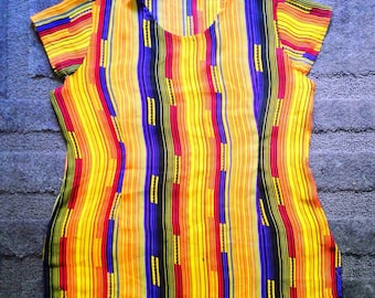 Vintage Striped Colorful Blouse Size Medium