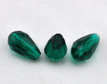 Hole green faceted teardrop crystal beads,Teardrop Crystal 10x15mm Faceted Loose Beads -- J00145