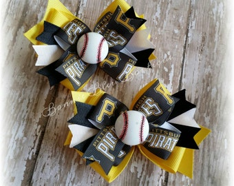 PITTSBURGH PIRATES Double Stacked Bow - single or pigtail set