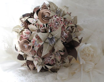 Handmade Bespoke paper flower Bouquet and boutonniere set