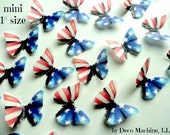 """24 Red White & Blue American Flag Print Set Mini Decorative Wafer Paper Butterflies© 1"""" Pre Cut Cake Dessert Decorations Fourth 4th of July"""