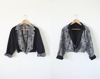 Vintage cropped jacket / reversible jacket / ethnic jacket
