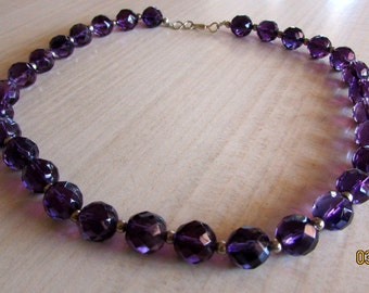 Faceted 9mm Amethyst Bead Necklace 15 1/2""