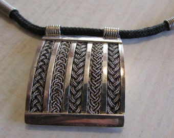Woven Look Sterling Silver Necklace on a Cloth Cord