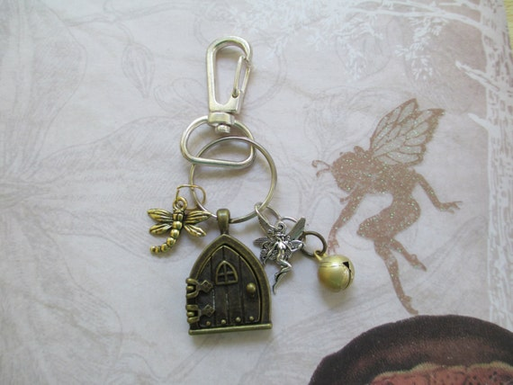 Fairy door triangle bronze key chain with by for Fairy door with key
