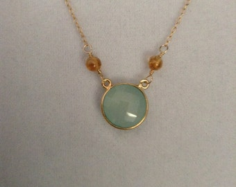 Chalcedony and Citrine Gemstone Necklace