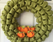 Fall Wreath , Burlap Wreaths , Burlap Fall Wreaths , Burlap Bubble Wreath , Fall Burlap Wreath , Fall Decor , Wreaths , Pumpkin Wreaths 19''