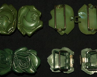 DESTASH - Two Pairs Each Lovely Vintage Green Buckles or Closures, Craft Accessories,  Findings