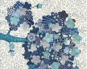Blue and White, Collage, Floral, Original, OOAK, Small Wall Art, Spring Will Spring
