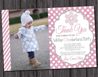 Winter Onederland Thank You Card - Personalized Snowflake Thank You Cards - Winter Wonderland