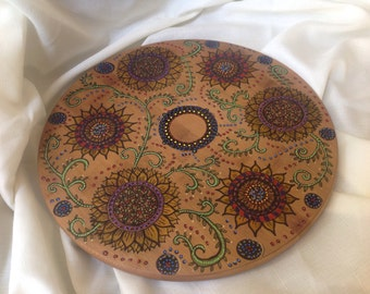 Hand painted lazy Susan, bamboo lazy Susan, housewarming gift, centerpiece, table organizer