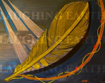 Bird feather illustration done in colored chalk