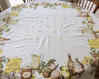 "Vintage 1960's ""American Dinner"" Rectangular Kitchen Table Cloth, 46"" x 52"""