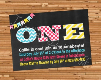 Chalkboard Printable Birthday Invitation (Other Ages & Colors Available!)