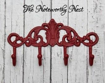 Red Hook Decorative Hook // Jewelry Hook // Coat hook // towel hook // bedroom decor // bathroom decor // kitchen decor // red decor