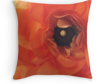 Orange Pillow - Flower Pillow - Ranunculus Print - Floral Pillow - Botanical - Cushion