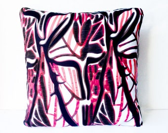 Red Black & White Abstract Print Cushion Throw Pillow Cover 16x16 or 18x18 inches