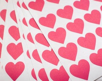 """250 x 1"""" Pink Heart Stickers"""
