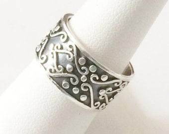 Size 9 Sterling Silver Wide Band Ring