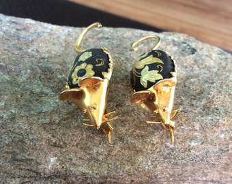 Damascene Mouse Brooch, Set of Two, Twin Mice