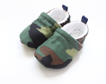 army green - baby shoes, Soft Sole Baby Shoes, Fabric Baby Booties - great gift idea!