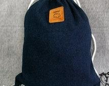 Denim Backpack Canvas Cotton drawstring Hip bag Handmade bag