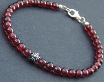 Men's Women Garnet Sterling Silver Bracelet Cross Bead Natural AAA Gemstone DiyNotion Handmade BR494