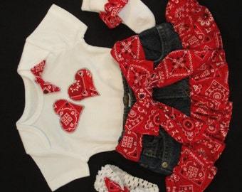 Yee Haw!!! Cute bandana jean skirt outfit for your little cowgirl. Size 3-9mo. cowgirl, western baby, cowgirl baby, cowgirl todd