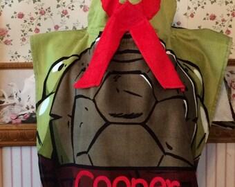 TMNT Mutant Ninja Boy's Hooded Towel Poncho Turtles Red – Personalized