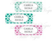 Personalized  Waterproof  Labels - Waterproof Stickers Name Label Dishwasher Safe Daycare Label School Label - girl damask mint aqua pink