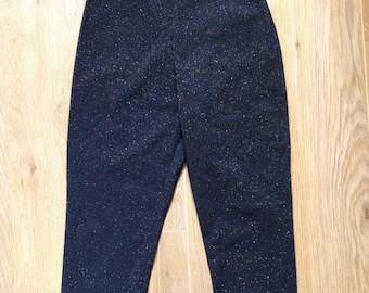 Small Black Sparkle Bengaline Vintage Inspired High Waist Capri Pants