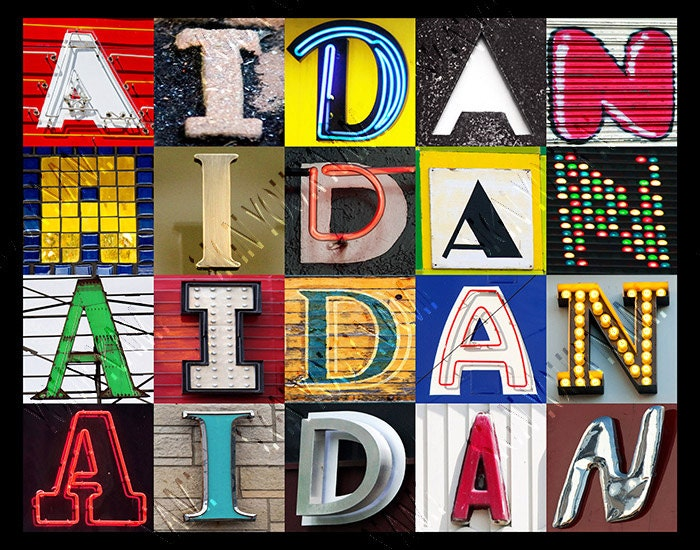 Personalized Poster featuring AIDAN showcased in photos of letters ...