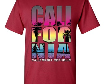California Shirt for Men~ West Coast California Beaches Shirt for Men California~ Shirt California Republic Size S- 2XL~ summer shirt